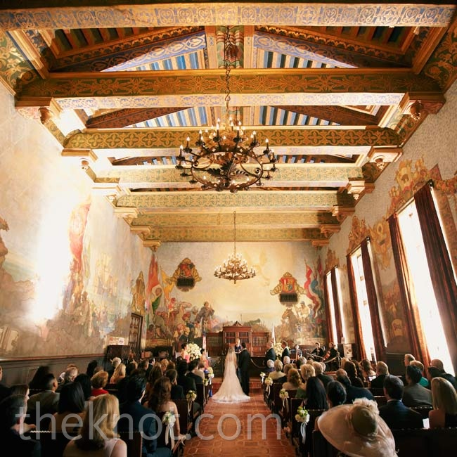 The couple wed in The Mural Room at the Santa Barbara County Courthouse. Because of its ornate detailing, they didn't need to add much decor.