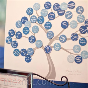 As guests arrived, they signed their names on blue dots and placed them on a tree sign that's now framed in the couple's home.