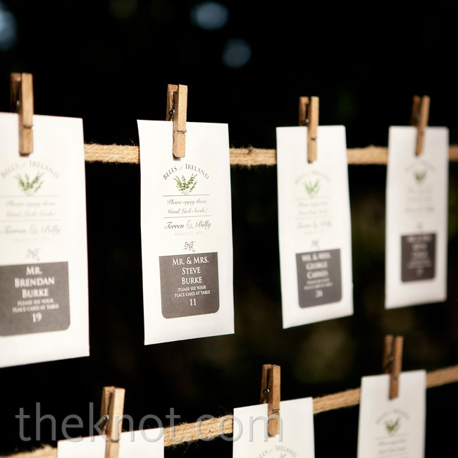 Guests' names and table numbers were printed on bells of Ireland seed packets and hung between trees.