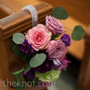 Purple Rose Pew Decor