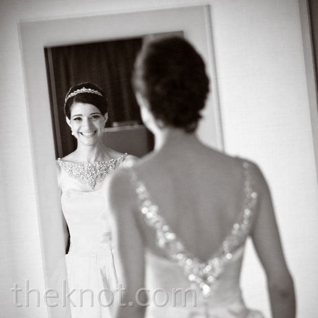 "Kelley loved the retro look of this ball gown's jewel-covered mesh boatneck. She says it was ""too pretty to pass up."""
