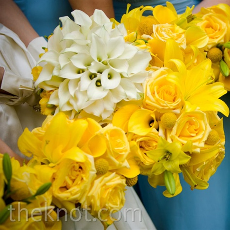 Yellow and White Wedding Bouquets