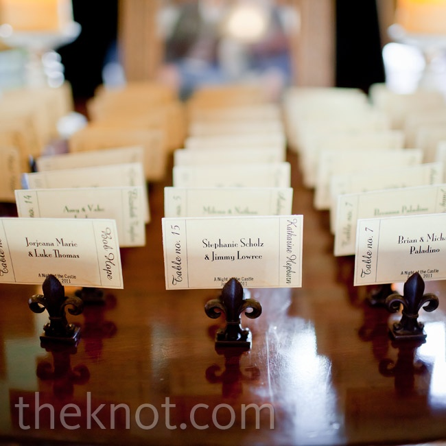Vintage movie tickets inspired the escort card design.
