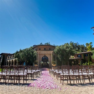 All the outdoor ceremony space needed in the way of decor was a romantic aisle of rose petals.
