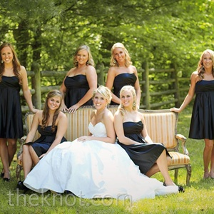 Chelsey wanted her bridesmaids to look timeless, so she picked out these simple satin black dresses.