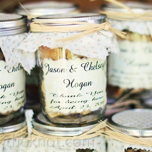 Jason designed and made labels, complete with the couple's names and wedding date, to add a personalized touch to the cookies favors.