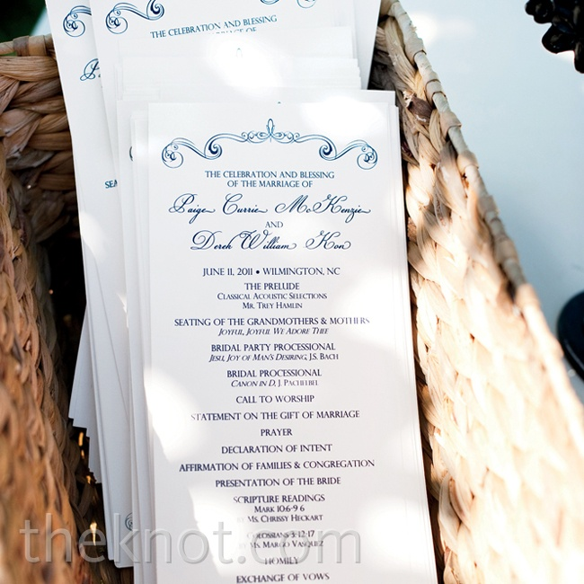 The swirl border design from the invitations was carried through to the programs.