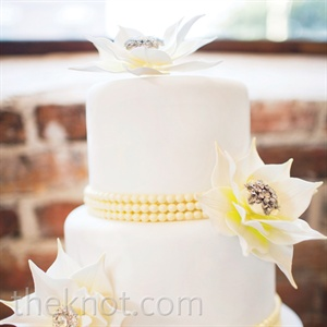 Yellow Crystal Beaded Cake