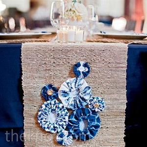 Burlap Table Runner with Blue Decorations