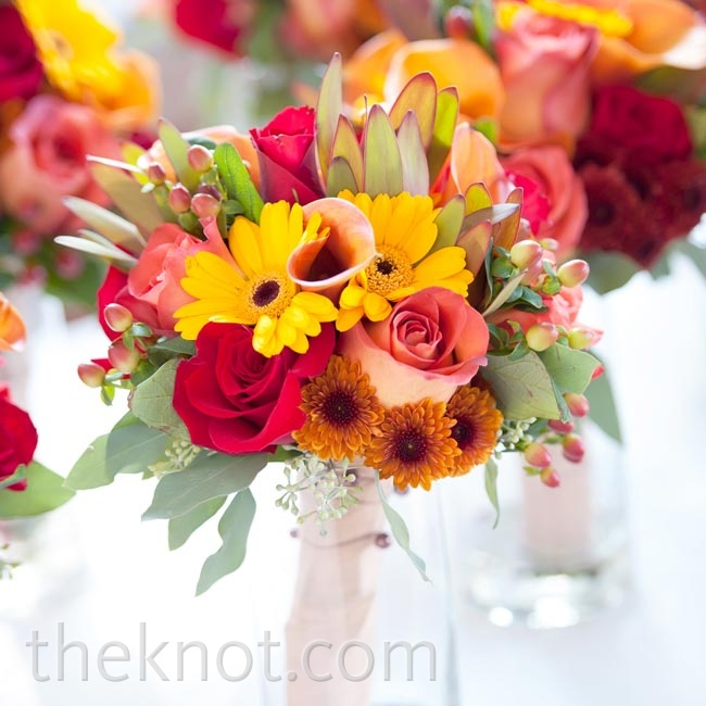The girls' bouquets were set in glass jars to stay upright and hydrated.