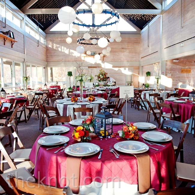 A ballroom in the couple's mountain lodge venue struck the perfect balance between rustic and elegant.