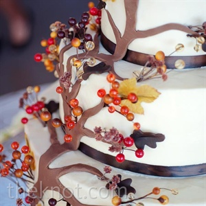 The three-tiered cake was adorned with a climbing fondant tree and finished with ribbon trim.