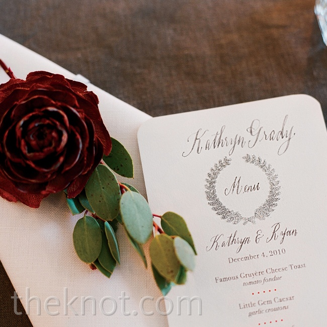A gray wreath motif was used on all the paper for an elegant nod to the season.