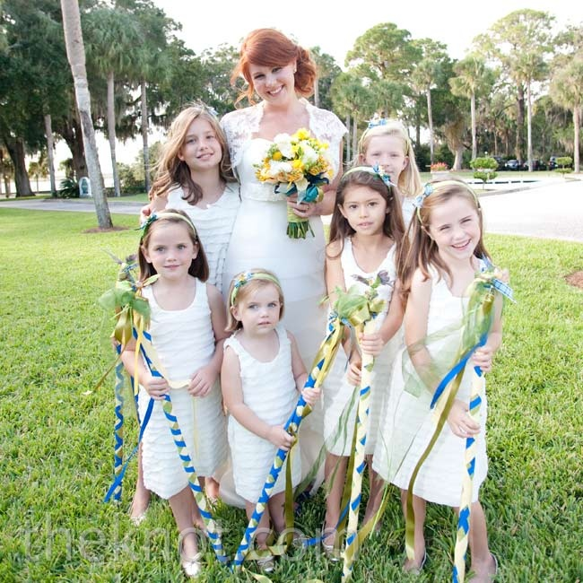 In lieu of a flower girl, the couple's nieces and cousins skipped down the aisle to the beat of a drum.