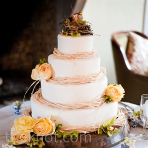 The whimsical four-tiered cake was trimmed with raffia and topped with a bird's nest.