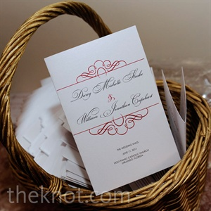 Similar scrollwork, fonts and colors gave the invitations, programs and menu cards a cohesive feel.