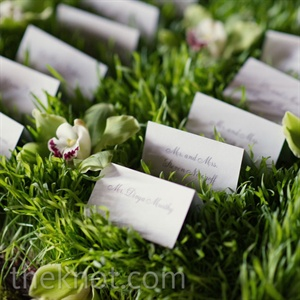 Simple, calligraphed escort cards rested in wheatgrass for a playful nod to nature.