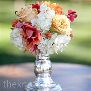 Hydrangea and Orange Rose Centerpiece