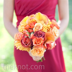 Tangerine Bridemaid Bouquet