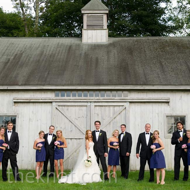 The bridesmaids all wore strapless navy dresses, while the guys coordinated in tuxedos and bow ties.
