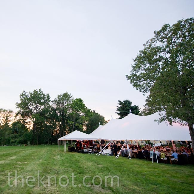 Dinner and dancing were held beneath a white sailcloth tent.