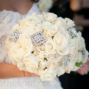 White Rose and Brooch Bouquet