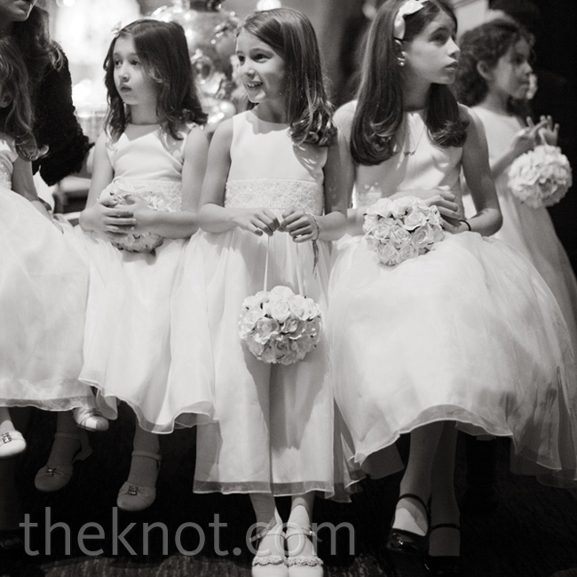 The couple's six nieces wore matching ivory dresses.