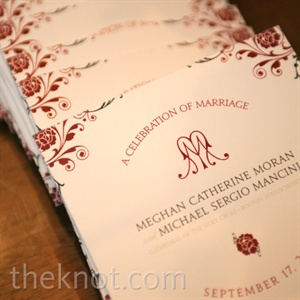 The square ceremony programs coordinated with the invite design.