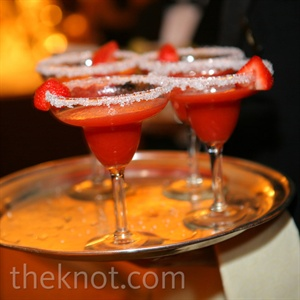 Frozen margaritas in various flavors (like these yummy strawberry ones) were passed around.