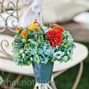 Hydrangea Flower Basket Ceremony Decor