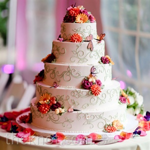 The five-tiered wedding cake was topped with bright sugar flowers and delicate dragonflies.