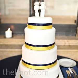Yellow and Navy Banded Cake