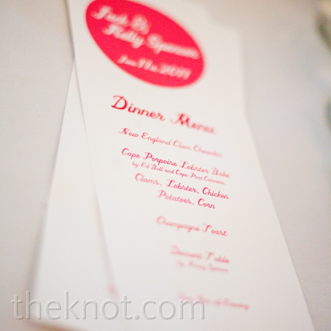Menus with a pink font were placed at each guest's seat.