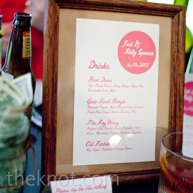 A mixologist created a custom menu of drinks for guests to enjoy.