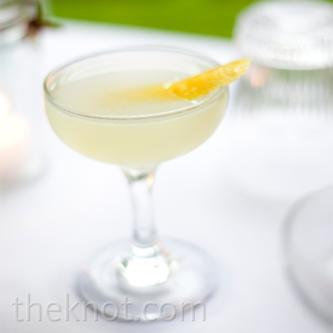 This Fay Wray cocktail was one of the couple's favorite drinks; it's made with gin, lemon and Cocchi Americano, and garnished with a lemon twist.