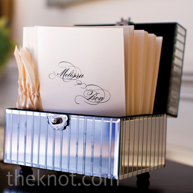 Simple ivory booklets tied with cream ribbon fit right in with the classic white ceremony décor.