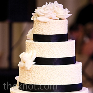 Black and White Banded Cake
