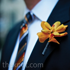 Orange Orchid Boutonnieres