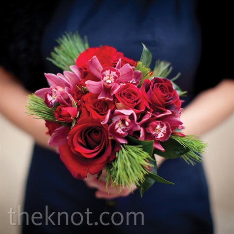 Evergreen Sprig Bridesmaid Bouquet
