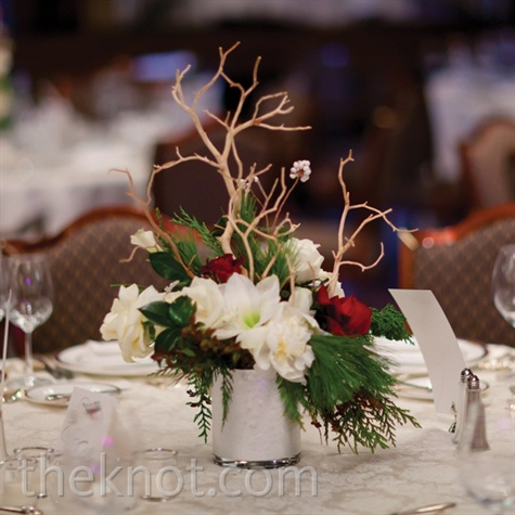 Winter Red and White Centerpiece