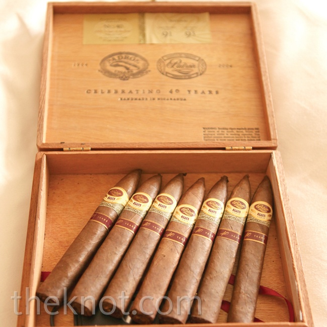 Hand-rolled cigars were a gift from the groomsmen.