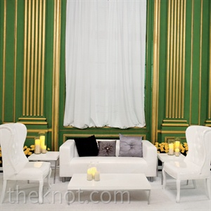 White and Green Lounge Area