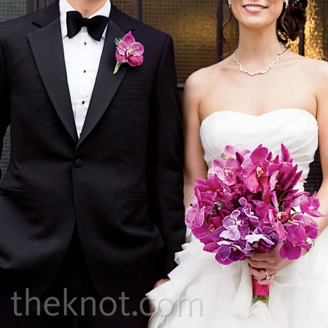 """A single fuchsia bloom popped on Edward's crisp tux. (The couple chose orchids as their wedding flower because they love how delicate and complex they are, and incidentally, part of Betty's Chinese name means """"orchid."""")"""