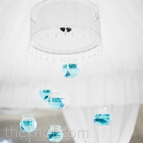 Hanging Fishbowl Reception Decor