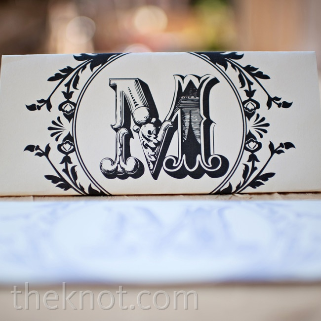 Deniza and Jordan wrote preceremony notes to each other on intricately monogrammed paper.