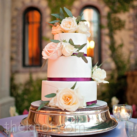 Purple Floral Wedding Cake