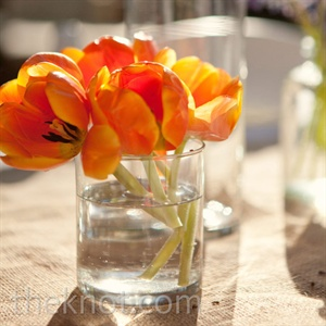 Monochromatic flowers, like these tulips, brought lots of color to the tables.