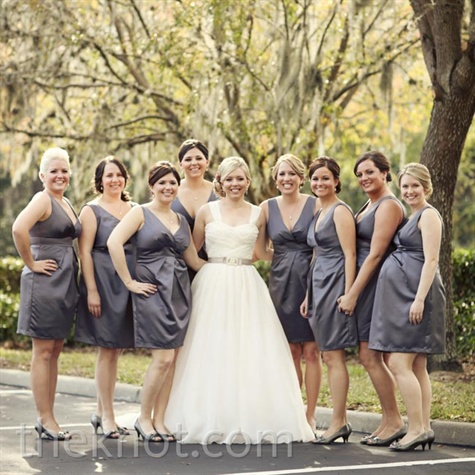 Gray V-Neck Bridesmaid Dresses