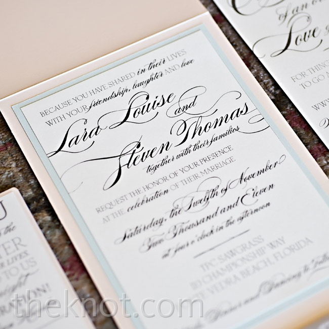 Script font and a peach pocket lent a girly vibe to the invites, which Lara designed herself.
