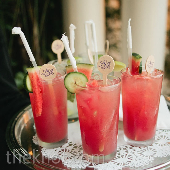 Refreshing watermelon mojitos, one of the two signature drinks, were served with monogrammed stirrers.